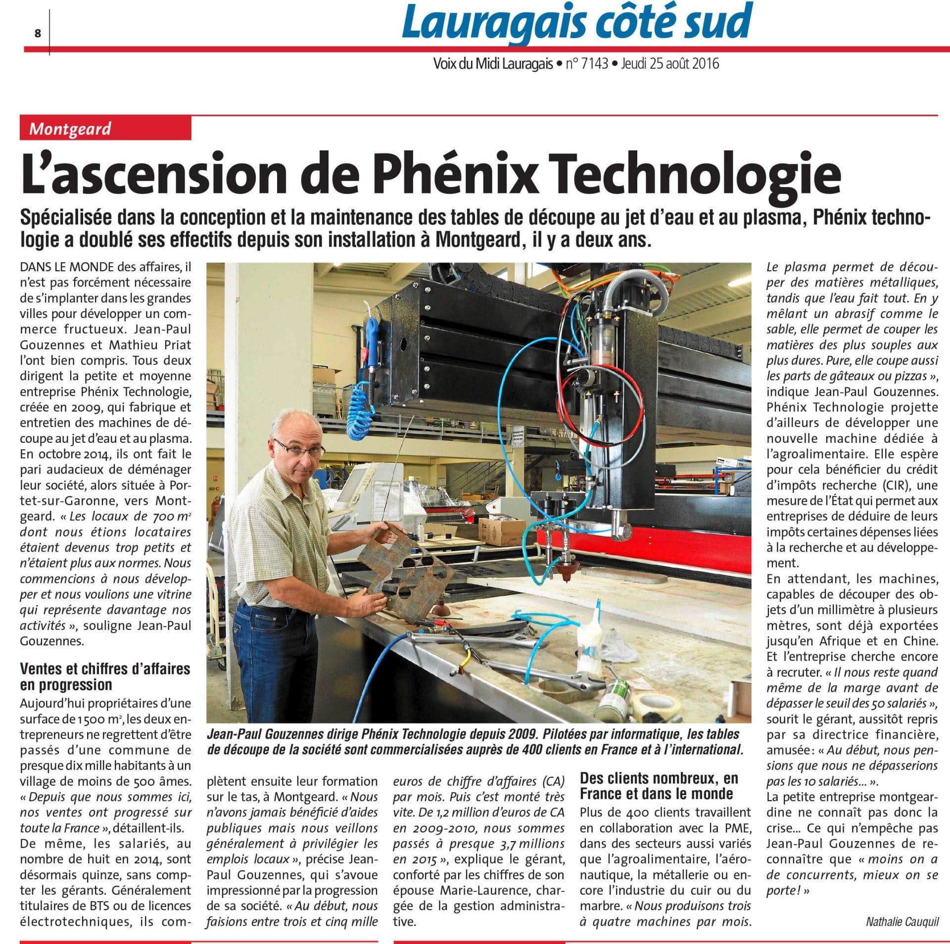 PHENIX TECHNOLOGIE FABRICANT CENTRES DE DECOUPE JET D'EAU ET PLASMA