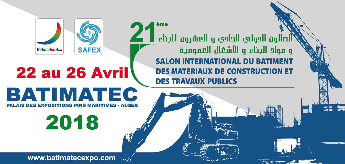 Affiche site web BATIMATeC 2018 - Phénix Technologie présent à ALGER du 22 au 26 avril 2018 à la 21 ème édition de BATIMATEC
